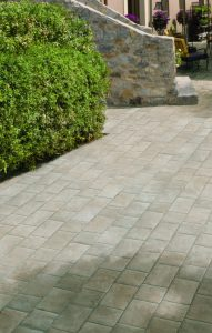Natural paving with stone built wall