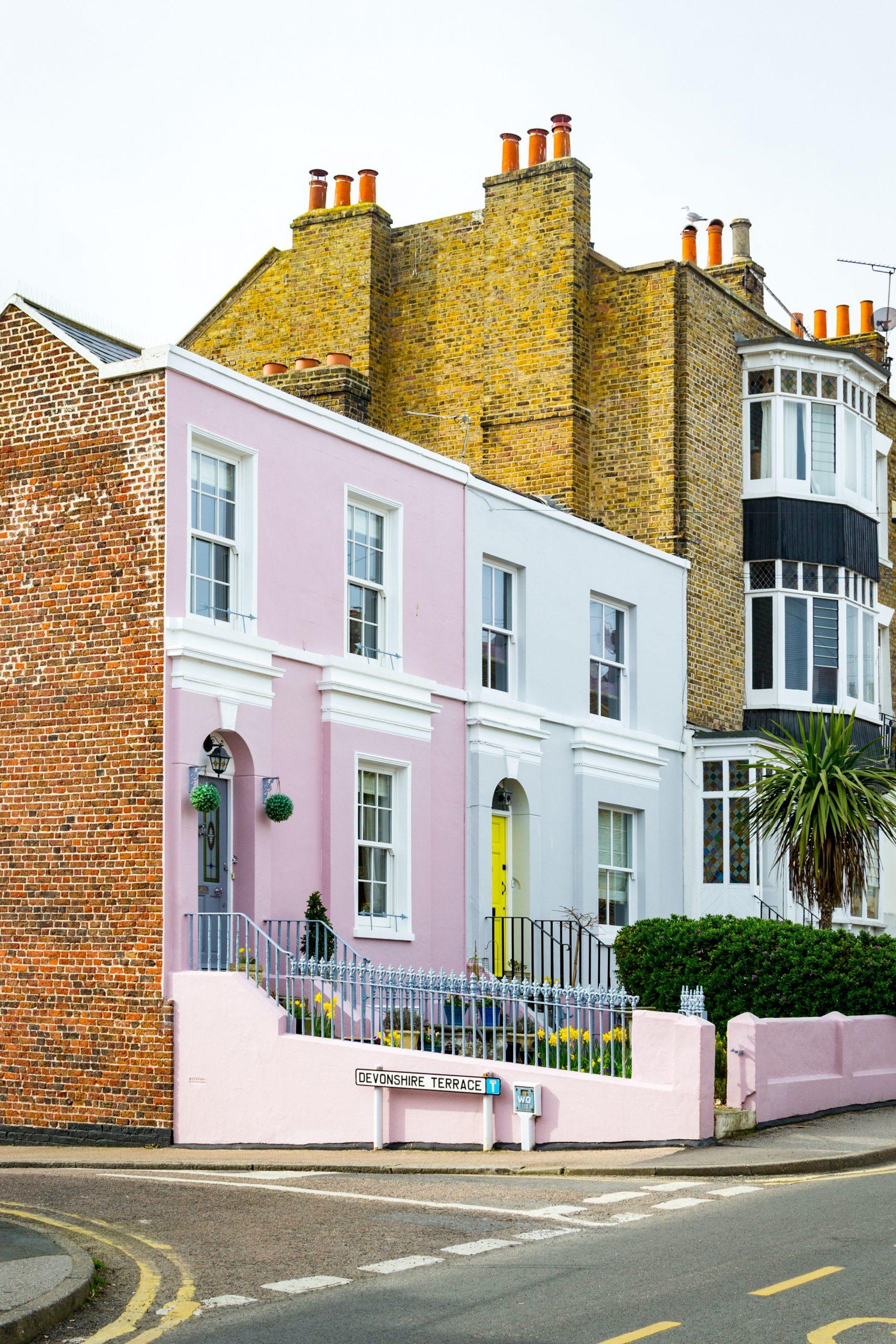 Freshly painted homes using masonry paint